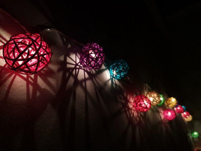 Close-up of illuminated christmas lights