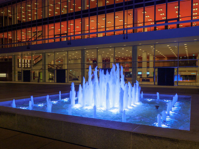 Fountain in front of Dresden Concert Hall Illuminated Built Structure Indoors  Architecture Night Blue No People Glowing Business Motion Glass - Material Long Exposure Glass Luxury Dresden Concert Hall Fountain Travel Destinations