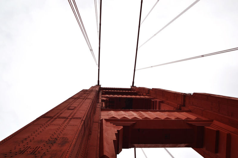 Architecture Bridge Bridge - Man Made Structure Bridges Built Structure Cable Engineering Famous Place Golden Gate Bridge High Section No People Red Bridge Rivets Rivets And Towers San Francisco Suspension Bridge Tourism
