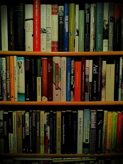 Book Shelves full of Books. Lines and Literature .