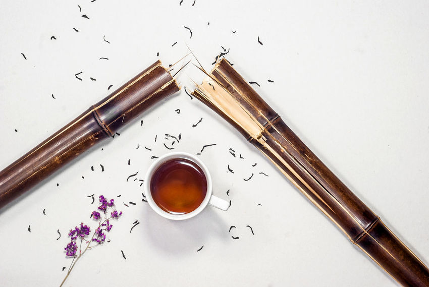 Chopsticks Close-up Directly Above Food Food And Drink Freshness High Angle View Hot Drink Indoors  Ingredient No People Refreshment Still Life Studio Shot Table Tea Tea - Hot Drink Tea Cup White Background Wood - Material