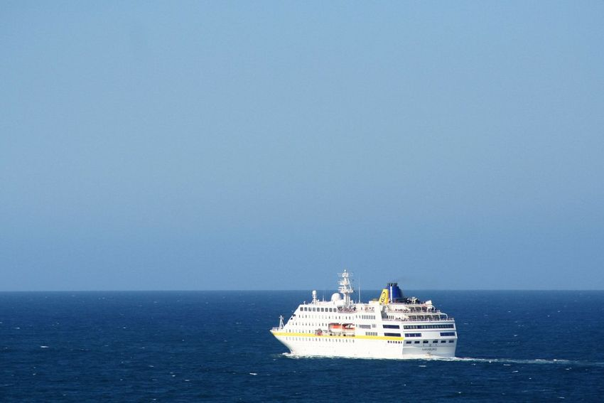 Blue Holiday Horizon Over Water Ocean Sailing Scenics Sea Ship Tourism Tourists Travel Destinations Traveling Vacation Time