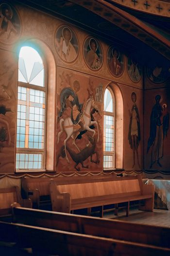 Church Orthodox Church Orthodox 35mm Film South Africa Analogue Photography Architecture Window Built Structure Indoors  Building Arch Day History Sunlight Representation Mural Place Of Worship Religion No People