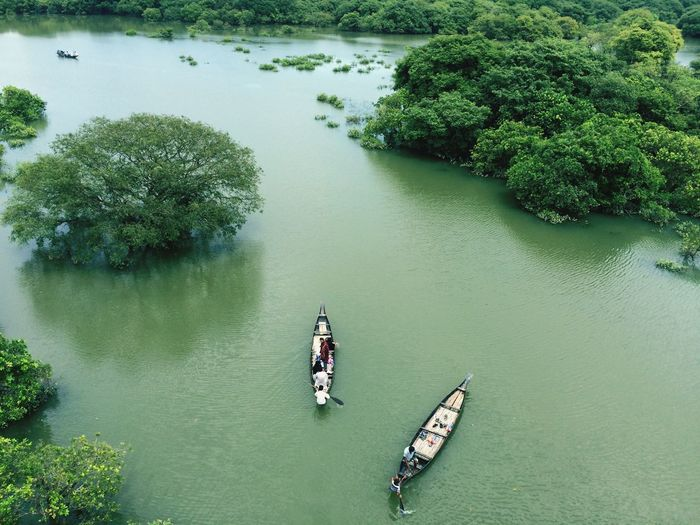 Aerial View Of Two Canoes On River