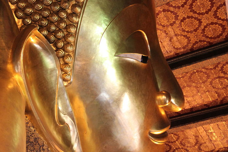 Buddha Architecture Art And Craft Belief Building Craft Creativity Gold Colored Human Representation Indoors  No People Ornate Place Of Worship Religion Representation Sculpture Spirituality Statue