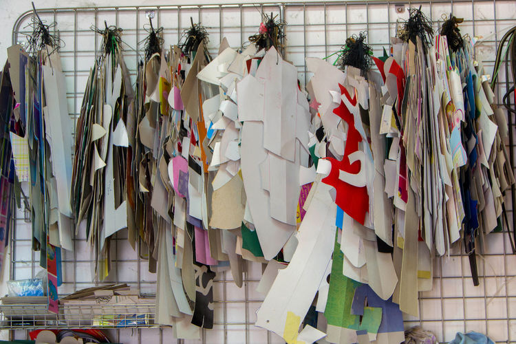 Low angle view of clothes hanging on wall