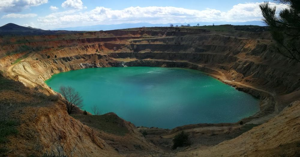 Mine Abandoned Places Abandonedmines Water Filledwithwater Rawmaterials Water Mountain Swimming Pool Hot Spring Sky Landscape Cloud - Sky Mining Mineral Geology Eroded Reservoir Sulphur