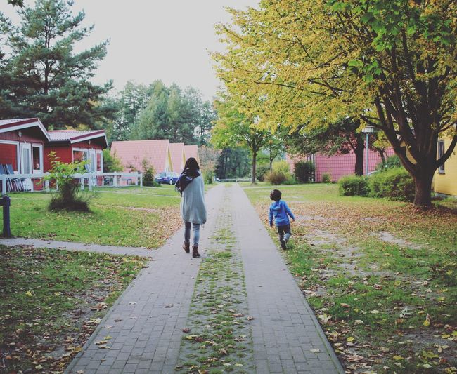 Motherandson  fall Autumn trees Childhood Full Length Rear View Child Tree Walking Togetherness Girls Mother Real People Family Father People Family With One Child Casual Clothing Son Adult Day Daughter