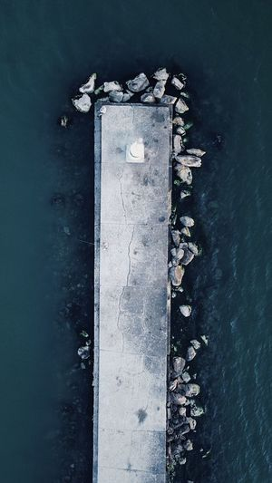 High angle view of floating on sea