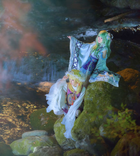 Cosplay based on Japanese mythology in traditional temple and nature.(toho project) Cosplay EyeEmNewHere Japan Japan Photography Night Photography Portrait Of A Woman Touhou Project Creativity Landscape Majestic Mythology Nature Night Portrait Traditional Water
