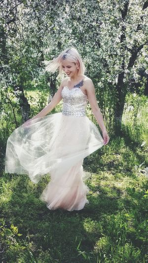 Dress Moldova Moldova Girl Pink Hair Smiling Full Length Tree Happiness Standing Portrait Girls Beauty Enjoyment Skirt