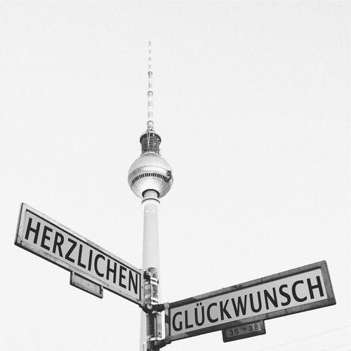 Herzlichen Glückwunsch Geburtstag Streetsign Congratulations Berlin Mitte Fernsehturm Fernsehturm Berlin  Blackandwhite Black And White Black & White
