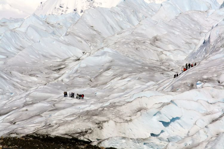 Adventurous tourists on a snow covered mountain