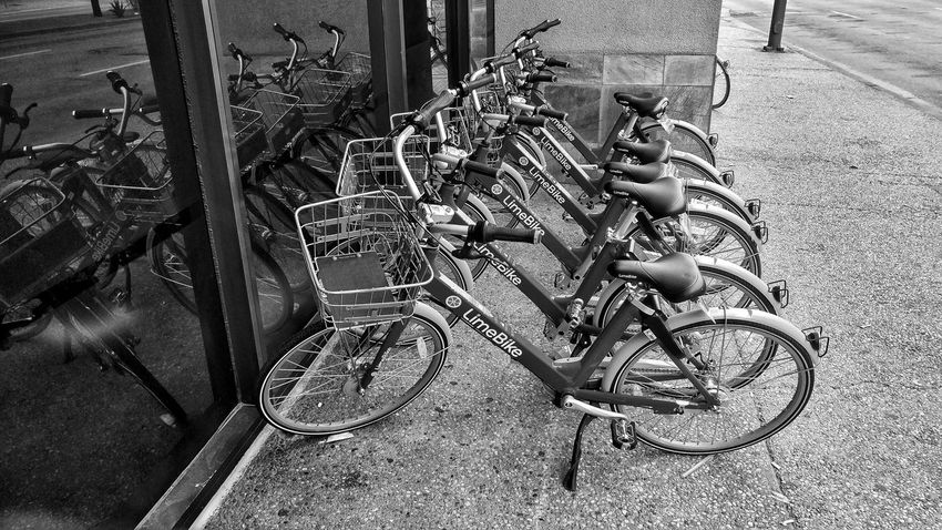Black And White Blackandwhite Monochrome Editorial  Dallas Limebike Low Section High Angle View Bicycle Rack Bicycle Cycling Stationary Sidewalk Bicycle Basket Pedal Stories From The City