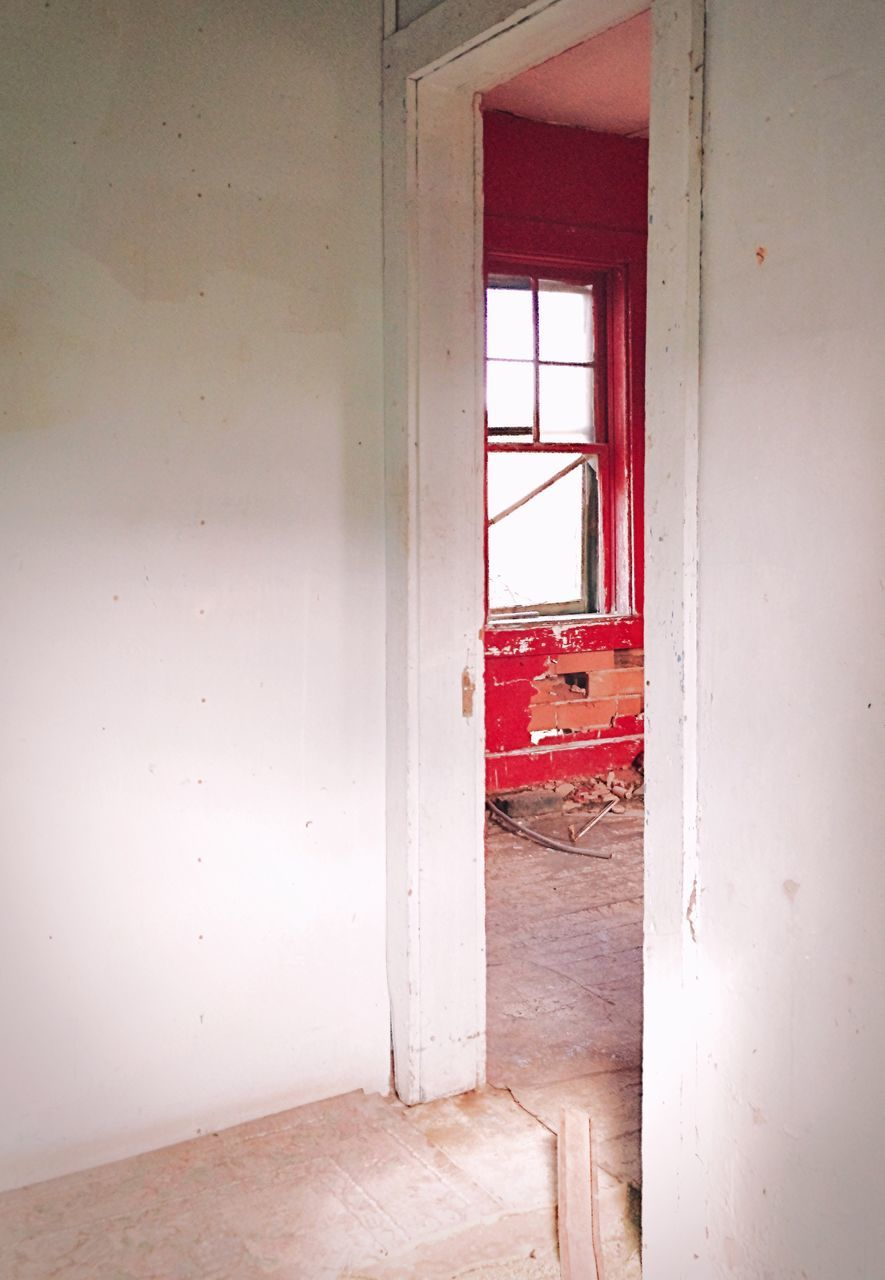 window, abandoned, indoors, damaged, no people, destruction, red, day, architecture