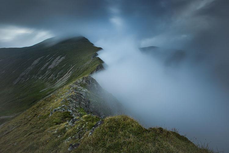 Alpine views from fagaras mountains, romania. summer carpathian landscapes.