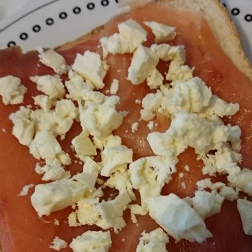 100happydays Day95 catchup. Smoked salmon on sale = a very happy me!! No cream cheese at home so I improvised with crumbled feta... Yum!