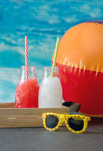 frozen slush drinks in strawberry and lemonade flavors. non alcoholic for the kids