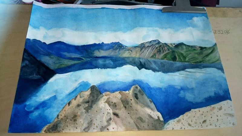 送给朋友的画,是长白山天池~⊙▽⊙ My Painting Love To My Friends Changbaimountain Summit View Mountains Lake View Innerpeace