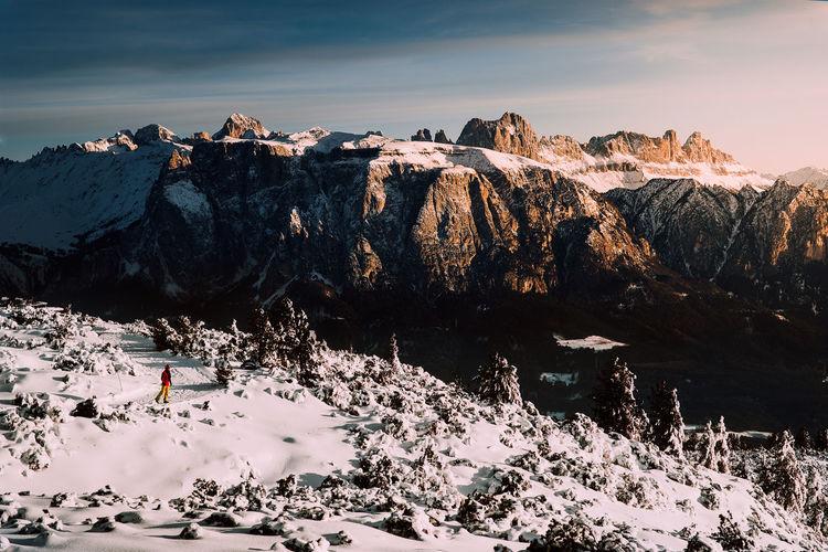 Memories of Italy Creative Photography Idea EyeEm Selects Italy Sunset Snow Cold Adventure Creativity Unique Magic Bolzano Bolzano - Bozen Light And Shadow Light Bird Polar Climate Snowcapped Mountain Astrology Sign Hiker