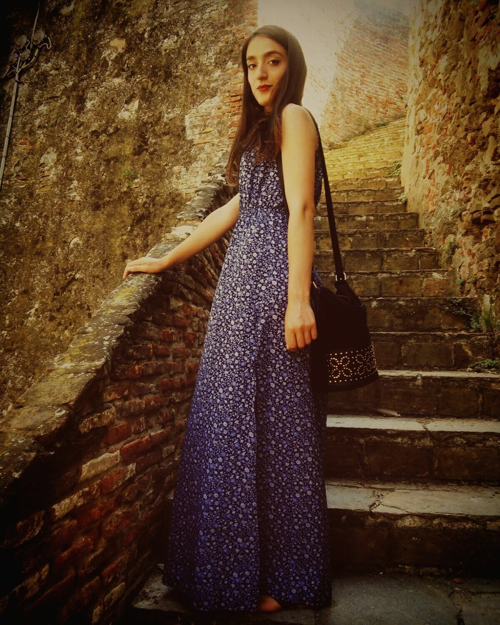 Full Length Portrait Of Beautiful Woman Standing Old Stairs