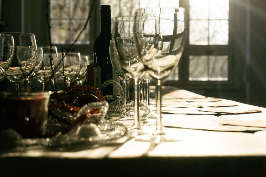 Christmas Dinner EyeEm Christmas Party 2017 EyeEm HQ Alcohol Christmas Decoration Close-up Day Drink Drinking Glass Empty Eyeem Party Eyeem Studio Kreuzberg Festive Food Food And Drink Food And Drink Industry Indoors  No People Place Setting Plate Restaurant Sunbeam Table Wineglass