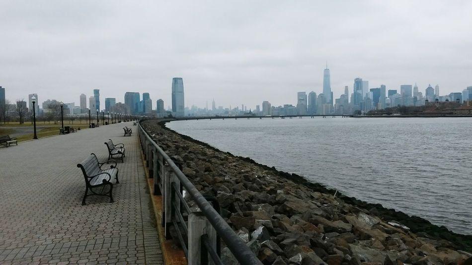 Cityscape Urban Skyline New York City Statue Of Liberty Manhattan Hudson River Jersey Shore