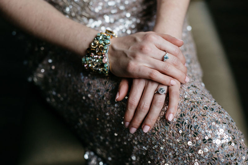 Midsection of bride wearing bracelet