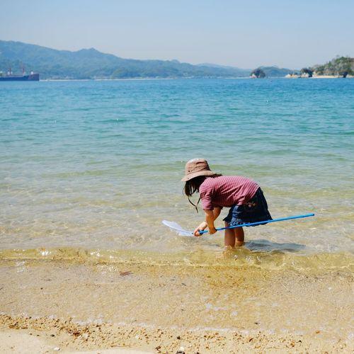 Girl Weekend Water Full Length Sea Beach Sand Childhood Tree Bending Over Sky