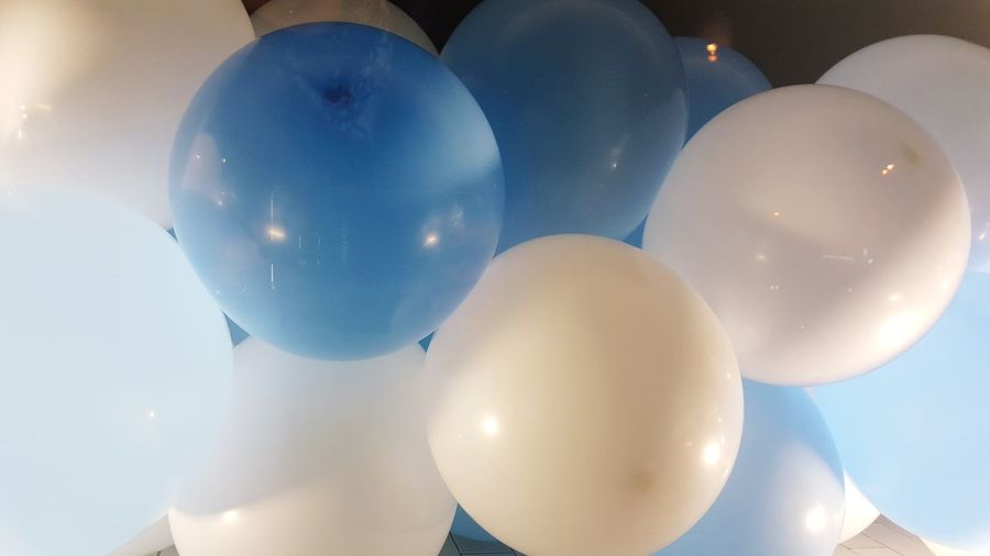 No People Low Angle View Illuminated Close-up Day Outdoors Balloon Happy Blue
