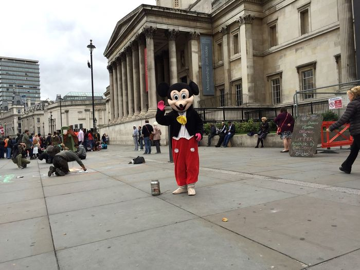 A Street Entertainer dressed up as Mickey Mouse stands in front of the National Gallery  in Trafalgar Square Iphone 6 London Life