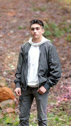 Teenage Shoot Teenager Teenstyle Wardrobe Glasses Portrait Full Length Men Standing Autumn Looking At Camera Hiking Hands In Pockets Front View Walking Leather Jacket Thoughtful