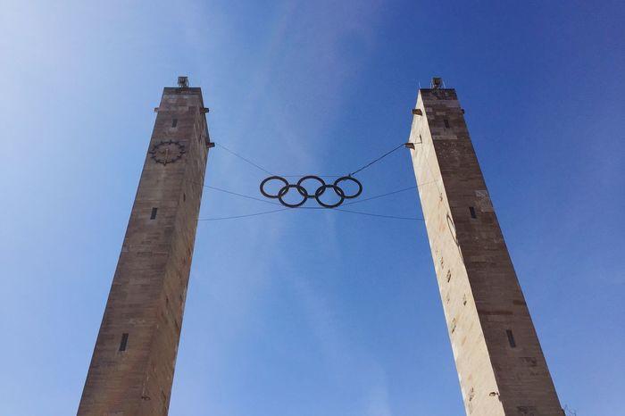 Olympic Olympicgames Olympiastadion Berlin Olympic Stadium Olympic Rings Sky Blue Sky Look Up