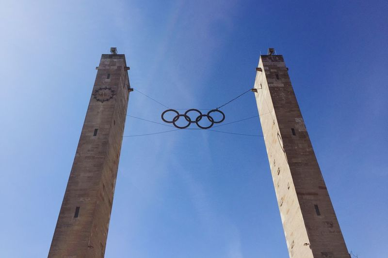 Olympic Olympicgames Olympiastadion Berlin Olympic Stadium Olympic Rings Sky Blue Sky Look Up