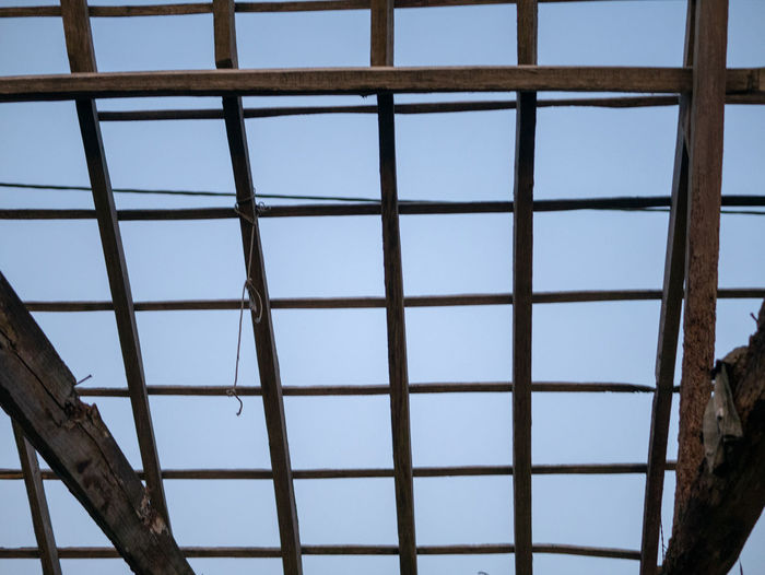 Sky Built Structure No People Architecture Day Metal Low Angle View Pattern Window Glass - Material Nature Blue Clear Sky Outdoors Transparent Close-up Grid Construction Industry Sunlight Skylight Roof Beam Lost Place