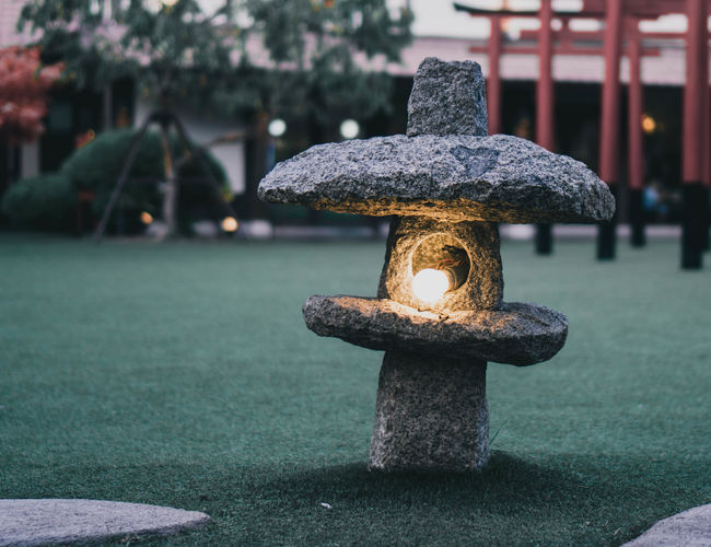 Focus On Foreground Outdoors Stone - Object Electric Lamp Garden Japan Lamp Stone Green