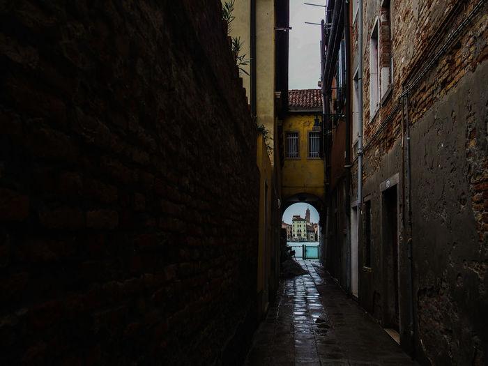 Narrow alley in city