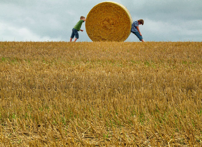 Boys Standing With Hay Bale On Agricultural Field