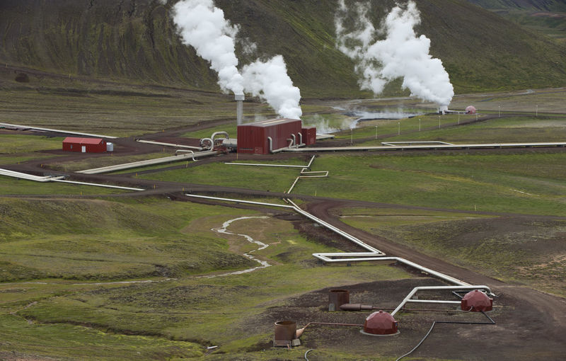 Krafla Geothermal Station in Northern Iceland Geothermal Power; Technology; Energy; Resources; Power Station; Pipeline; Manufacturing; Volcanic; Electricity; Ecology; Hot Water; Steam; Spring; Industry; Conservation; Iceland; Alternative; Europe; Factory; Nature; Environment Smoke - Physical Structure Environment Transportation Landscape Day Industry Factory Land Smoke Emitting Pollution High Angle View Train Field Environmental Issues Mode Of Transportation Rail Transportation No People Nature Outdoors Air Pollution