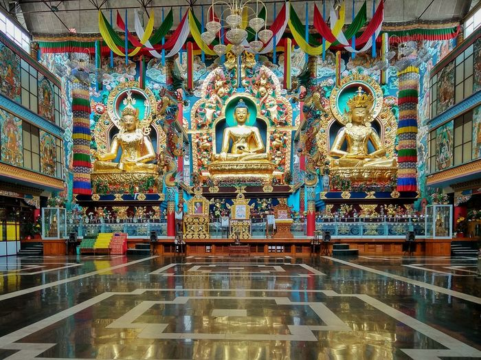 Golden temple at Coorg Religion Spirituality Place Of Worship Multi Colored Indoors  Travel Destinations No People Architecture Statue Sculpture Day Namdroling Monastery Coorg Travel Statues Interior Temple No People, India Karnataka Architecture Budha Budhist Temple Budhism