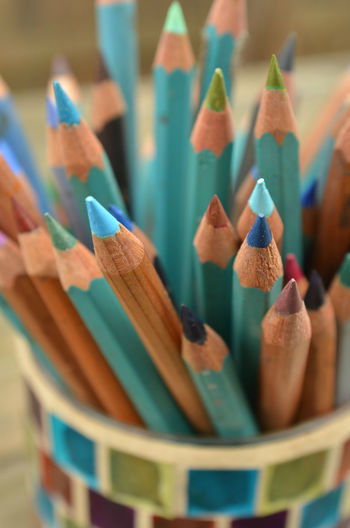jar of colored art pencils in mostly blues and greens Art, Drawing, Creativity Blue Close-up Color Pencils  Colored Pencil Colored Pencil Day Drawing Green Color Indoors  Multi Colored No People Pencils
