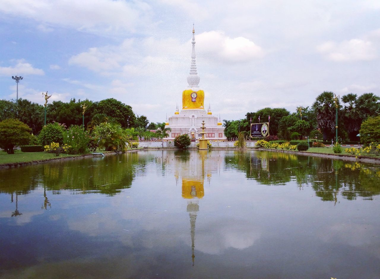 reflection, sky, water, architecture, religion, built structure, tree, cloud - sky, outdoors, spirituality, day, no people, place of worship, lake, nature, building exterior