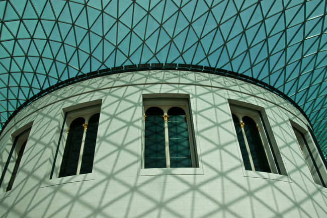 The British Museum, London Architectural Detail Architectural Feature Architecture Beauty In Buildings Blue Built Structure Day Design Geometric Shape London Looking Up Modern No People Pattern Repetition The British Museum Tuquoise