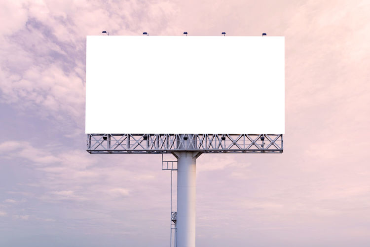 large Blank billboard ready for new advertisement Sky Billboard Blank Cloud - Sky No People Geometric Shape Copy Space Outdoors Advertisement Low Angle View Shape Sport Communication Architecture Nature Day White Color Sign Design Built Structure Message
