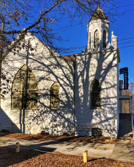 OFF BROADWAY ~ Excelsior Springs, Missouri USA ~ Built Structure Architecture Building Exterior Religion Place Of Worship Outdoors Spirituality No People Day Tree Sky Rose Window Kcac Artist Church Tower Missouriphotography Memories Relicsofthepast Old-fashioned Walker Evans January 2017 Ghosts Frozen In Time William Christenberry Bare Tree Architecture