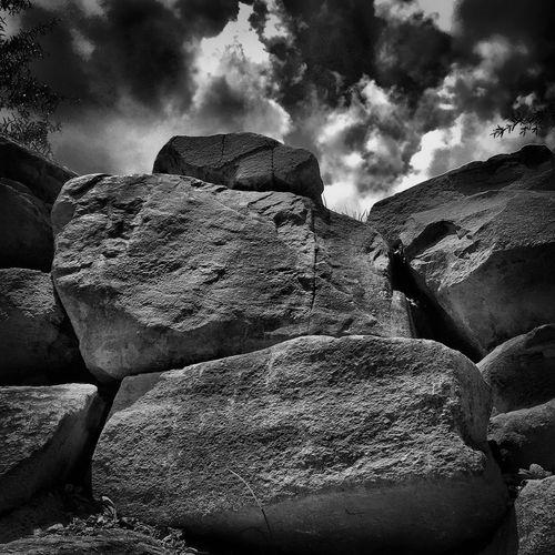 Rock B&w Boulders Nature Sky