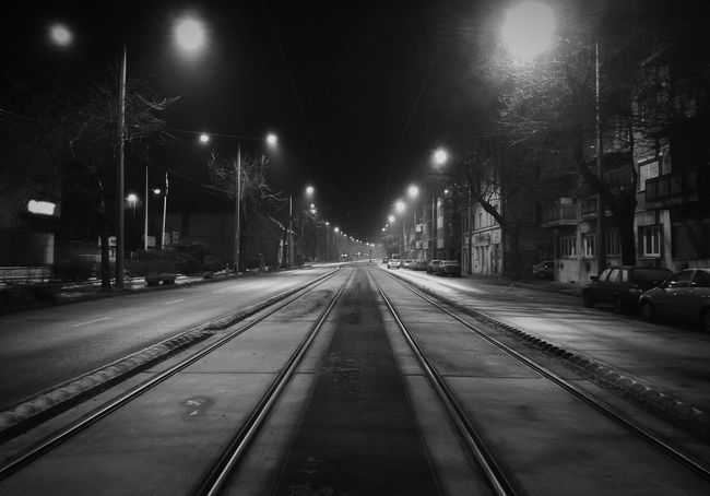 My street at night Night Illuminated Sky No People Outdoors Night Lights Nightphotography Budapest, Hungary Budapest Light And Shadow Lights City Lights Black & White Blackandwhite Rails No Cars In This Picture The City Light Welcome To Black The Street Photographer - 2017 EyeEm Awards EyeEm TOA 2017 Mix Yourself A Good Time Black And White Friday Mobility In Mega Cities