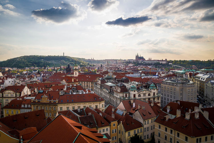Prague Cityscape Travel Destinations City Urban Skyline Roof Outdoors Aerial View Sunset Cloud - Sky Architecture No People Day Sky Europe Homeofbeer Travel Buildings Architecture Summer Old City Building Exterior
