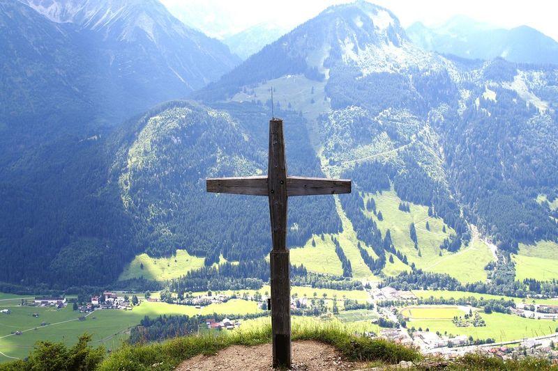 Cross Mountain Landscape Mountain Range Cross Shape Tranquil Scene Tranquility Crucifix Mountain Peak Scenics Religious Symbol Non-urban Scene Day Outdoors