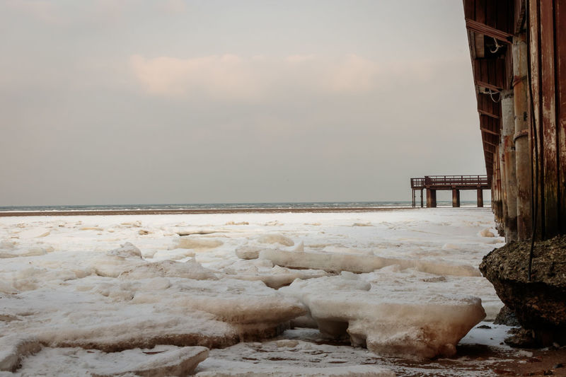 Frozen Hebei Ice Seashore Winter Beach Beauty In Nature Beidaihe China Cold Temperature Day Horizon Over Water Nature No People Outdoors Qinhuangdao Scenics Sea Seascape Seaside Sky Snow Tranquil Scene Tranquility Water
